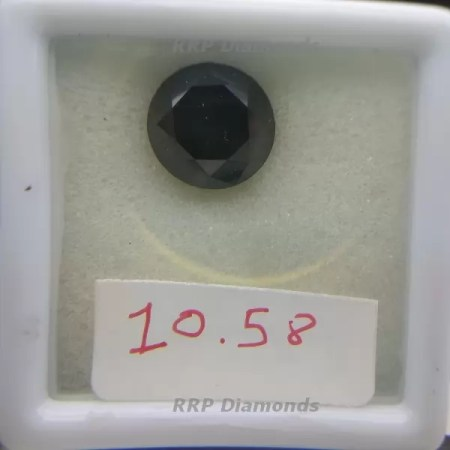 10.58 Carat Round Brilliant Cut 12.87 MM AAA Quality Black Diamond