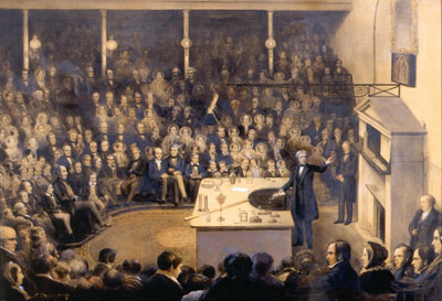 Michael Faraday delivering a Christmas lecture at the RI