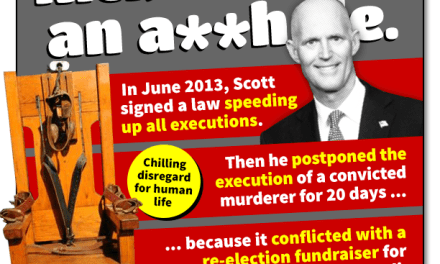 Rick Scott delayed the execution of a convicted murderer for a campaign event