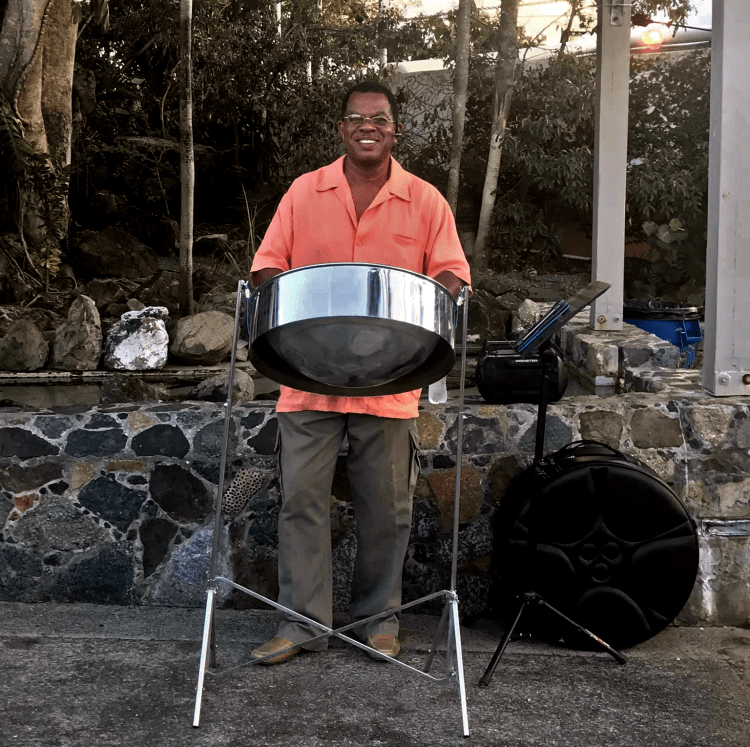 Robert Leonard playing steel pan at a wedding at Coral World St. Thomas USVI