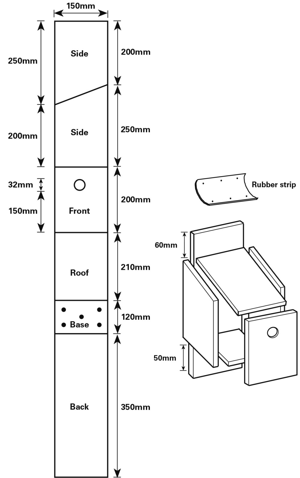 medium resolution of how to cut the wood for your house sparrow nestbox two sides 150 mm