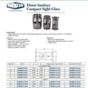 Dixon Sight Glass