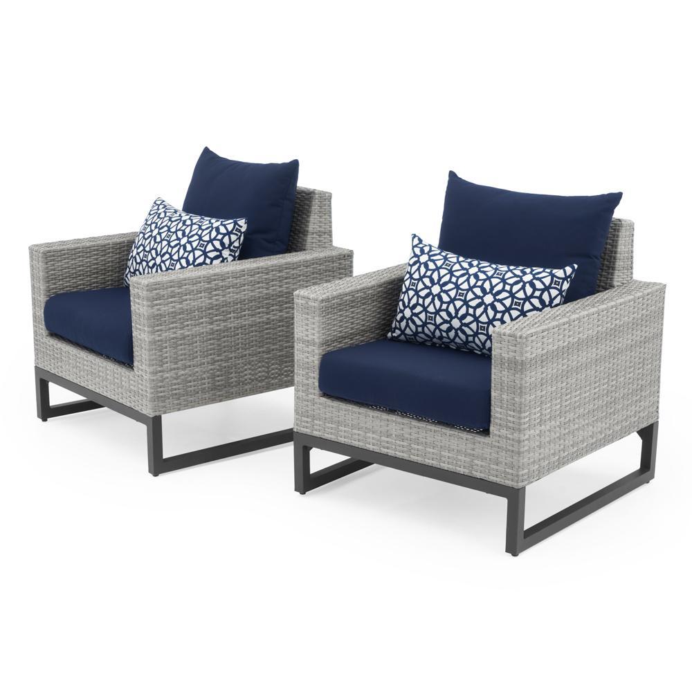 Milo Grey Outdoor Club Chairs  Navy Blue Club Chair