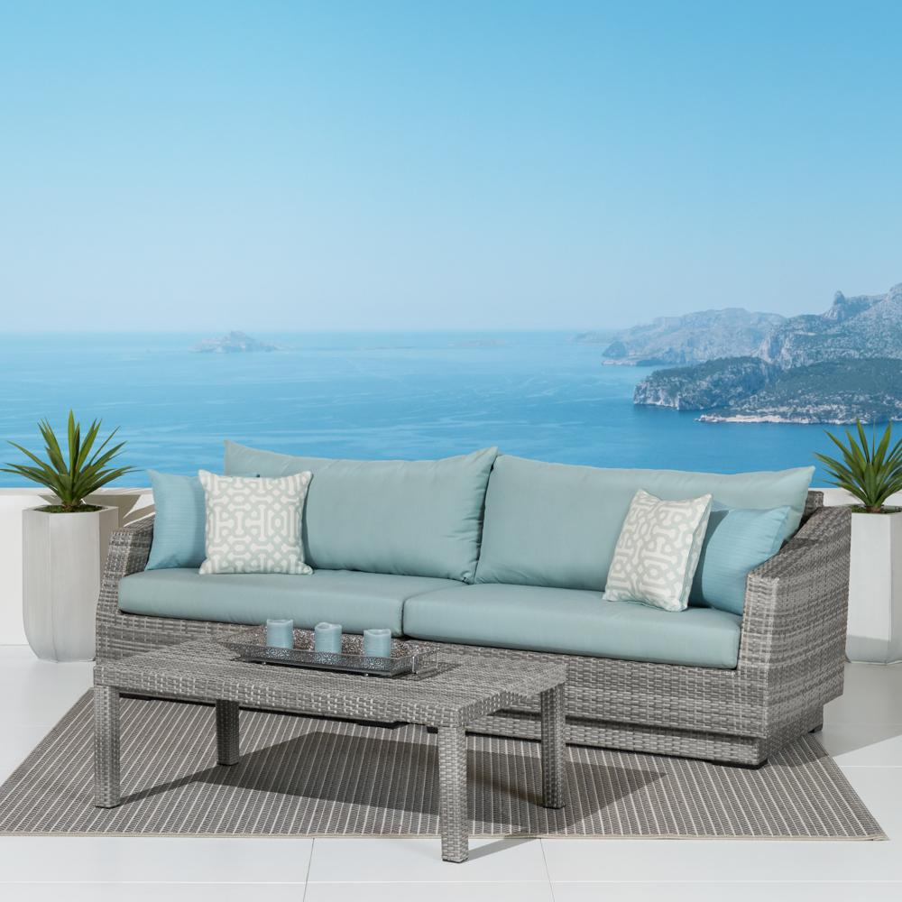 sling outdoor sofa leather repair miami fl cannes™ & coffee table - spa blue | rst brands
