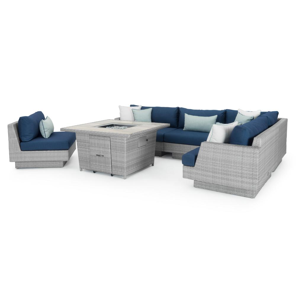 costco dining chairs duck chair covers portofino™ comfort 6pc sectional & fire table - laguna blue | rst brands