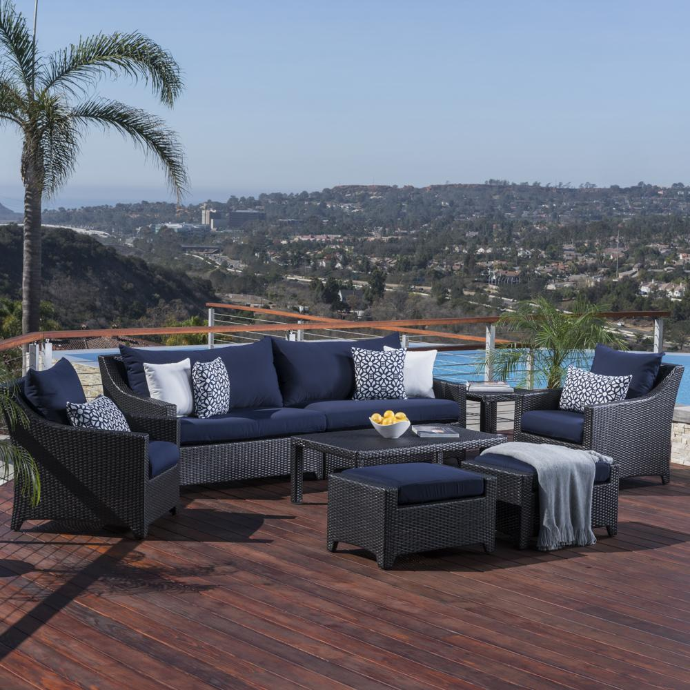 Deco 8pc Sofa and Club Chair Set  Navy Blue  RST Brands