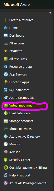 Azure Web Portal Virtual Machine Page