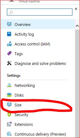 Azure Web Portal Virtual Machine Size Page