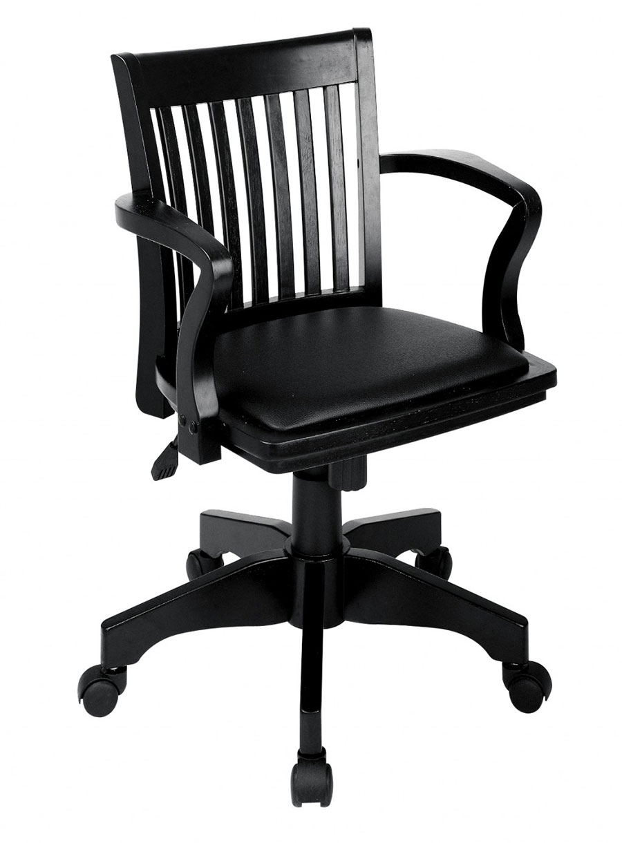 Wooden Desk Chair for Office in Glossy Black