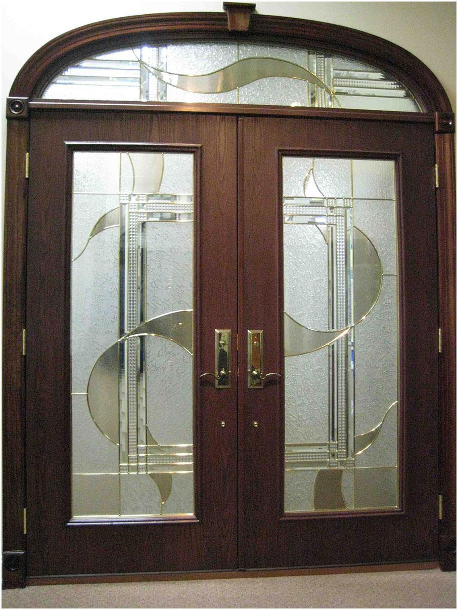 Modern Double Front Door Design With Glass