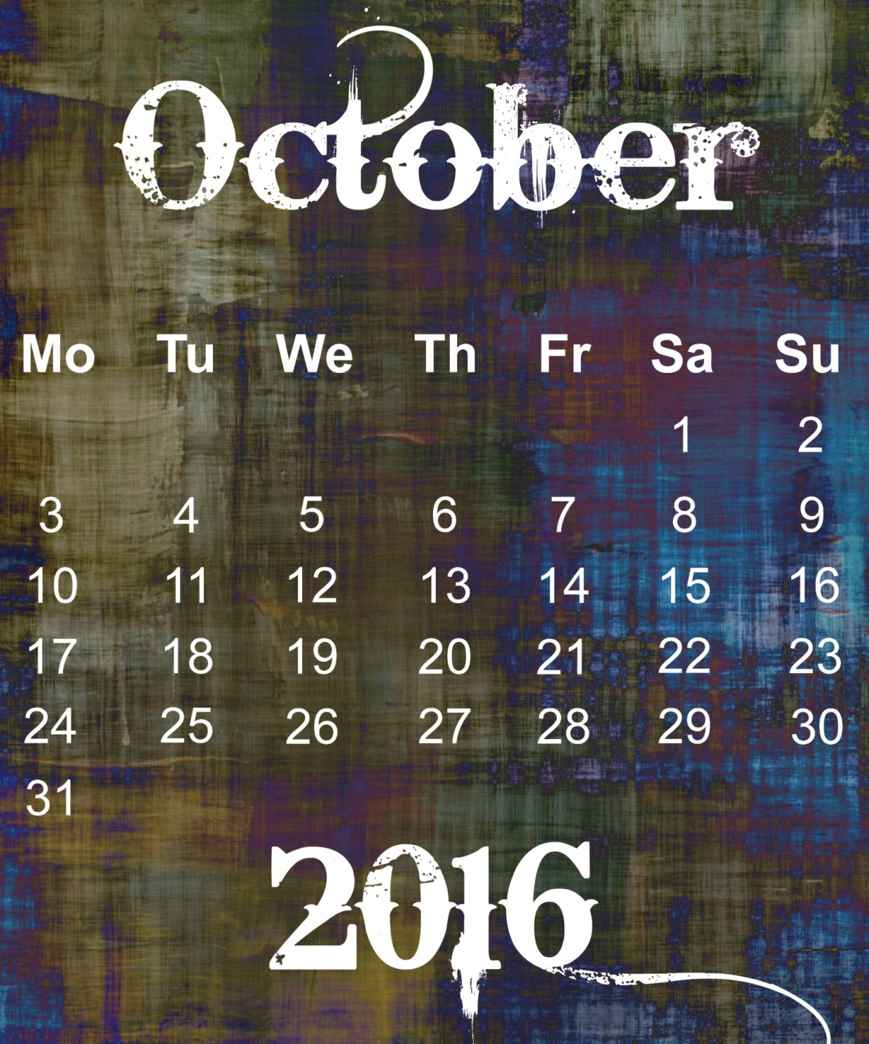 'October 2016 Grunge Calender' by Kevin Phillips. Used under Public Domain