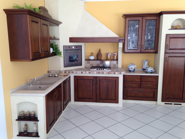 cucina ad angolo noce massello