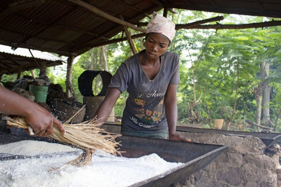 A YOUNG WOMAN IN NIGERIA TOASTS GARI, A PROCESSED PRODUCT MADE FROM CASSAVA. PHOTO: H.HOLMES/RTB