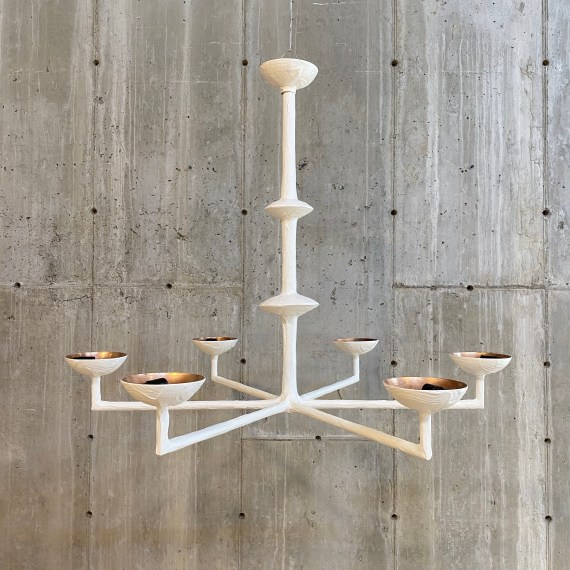 Classic Gesso Painted Chandelier, Brass Torchieres – 1
