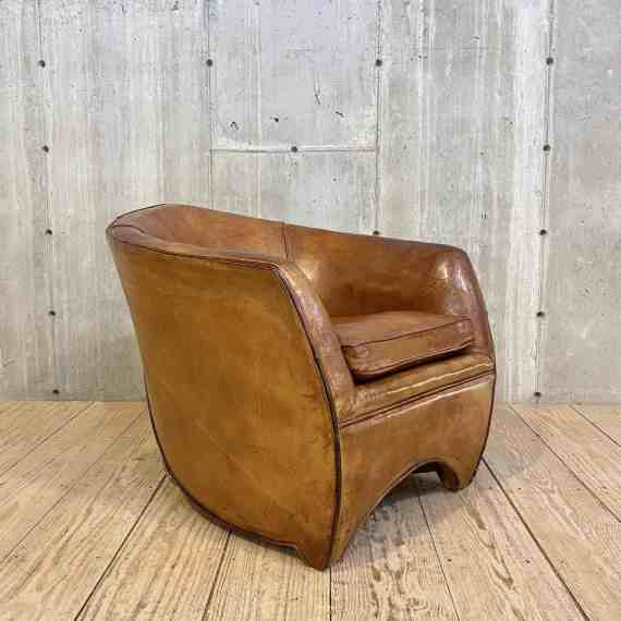 Dutch Leather Roller Back Club Chair by Bart Van Bekhoven – 1