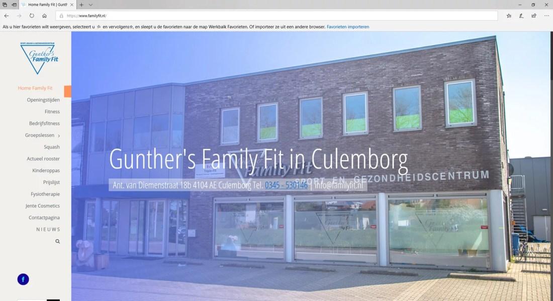 Voorbeelden van websites: Family Fit Culemborg