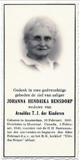 1940, décès de Johanna Bensdorp (Moe)