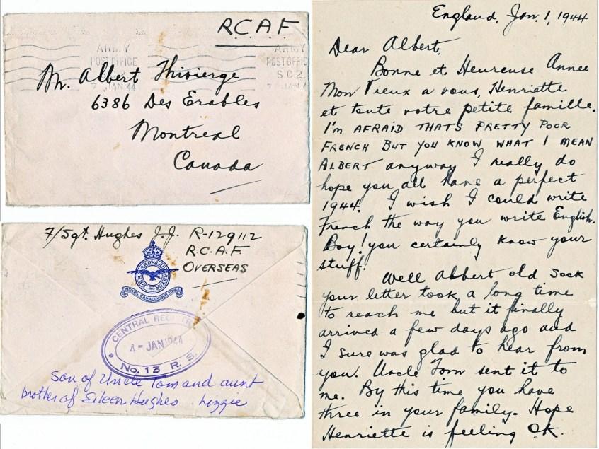 1944, janvier - lettre p 1 de Jim Hughes à Albert