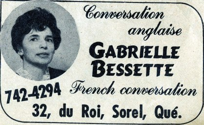 1969, approx Gabrielle Bessette