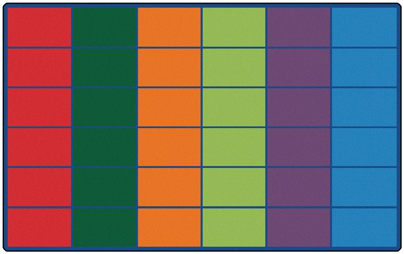 Classroom Rug 25 30 or 36 Spaces  Color Block Rug  RTR Kids Rugs