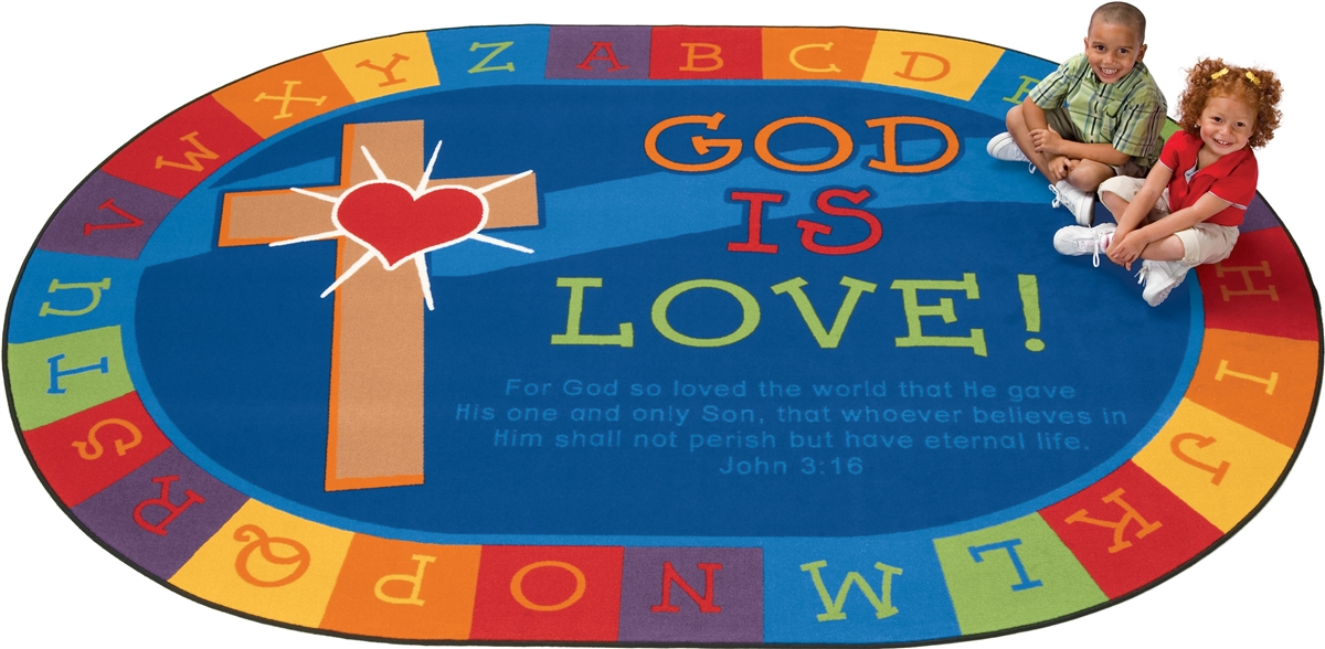God is Love Faith Scripture Rug  RTR Kids Rugs