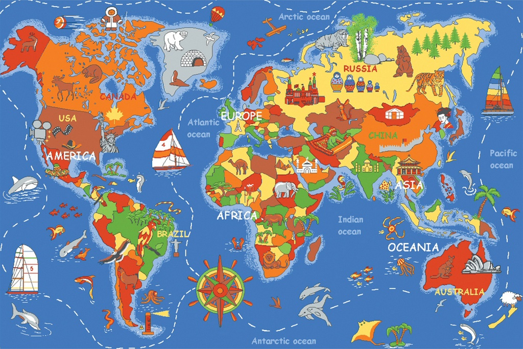 Where In The World Play Rug Rectangle 36 x 80  LC177