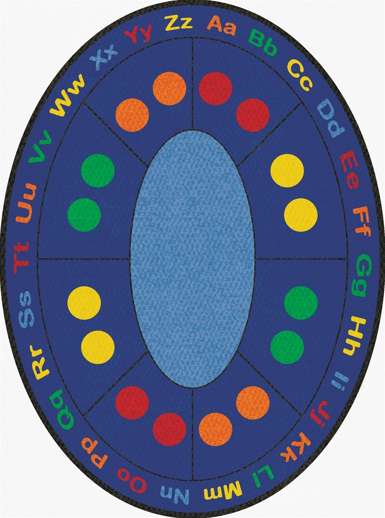 ABC Dots Rug Oval 9 x 12  LCCPR490  Learning Carpets