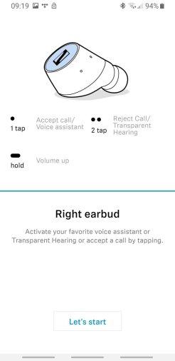 Sennhaiser Smart Control prawa słuchawka ustawienia