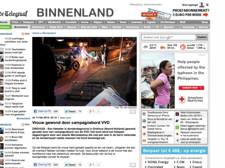 Vrouw botsing VVD-bord ernstig gewond