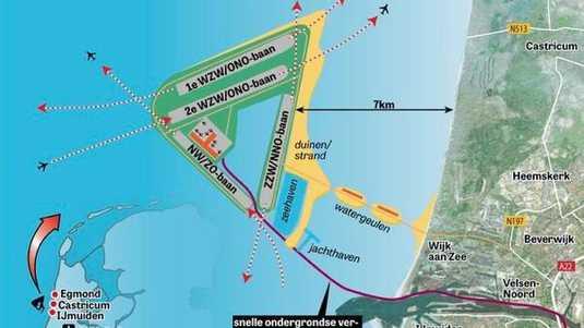 Velsen wil geen luchthaven in zee
