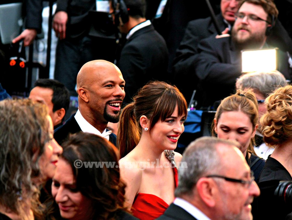 Dakota Johnson and Common Oscars Red Carpet 2015