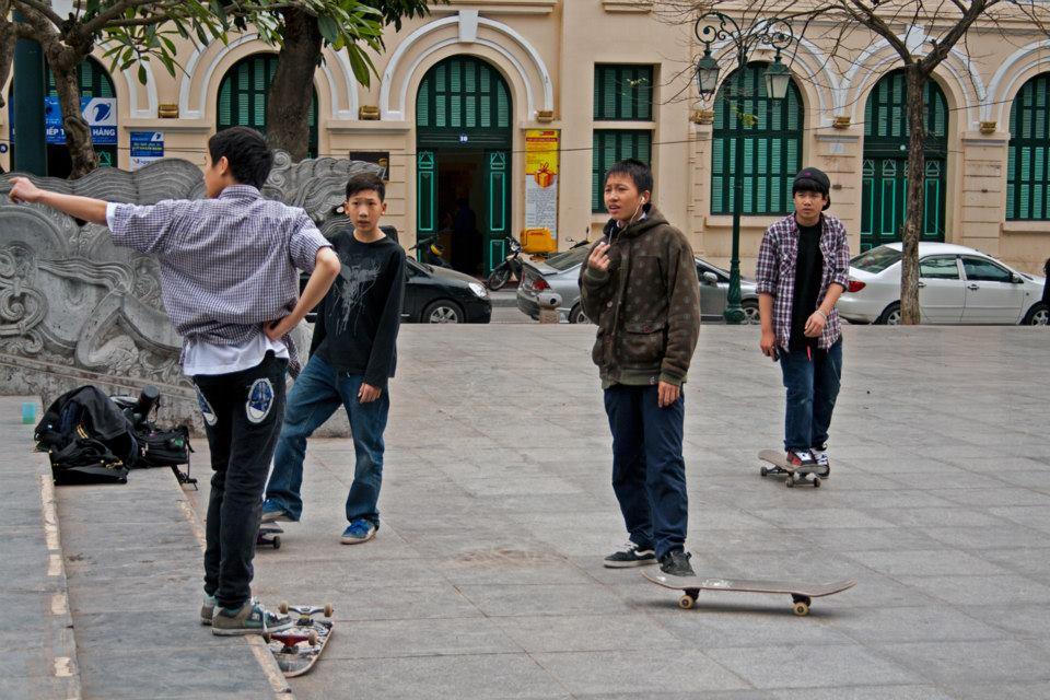 Skateboarding in Hanoi Vietnam