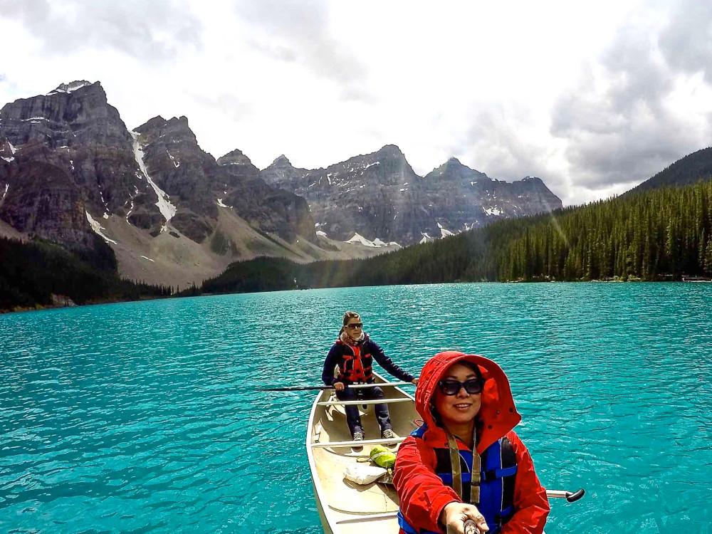 Moraine Lake Canoeing GoPro Selfie