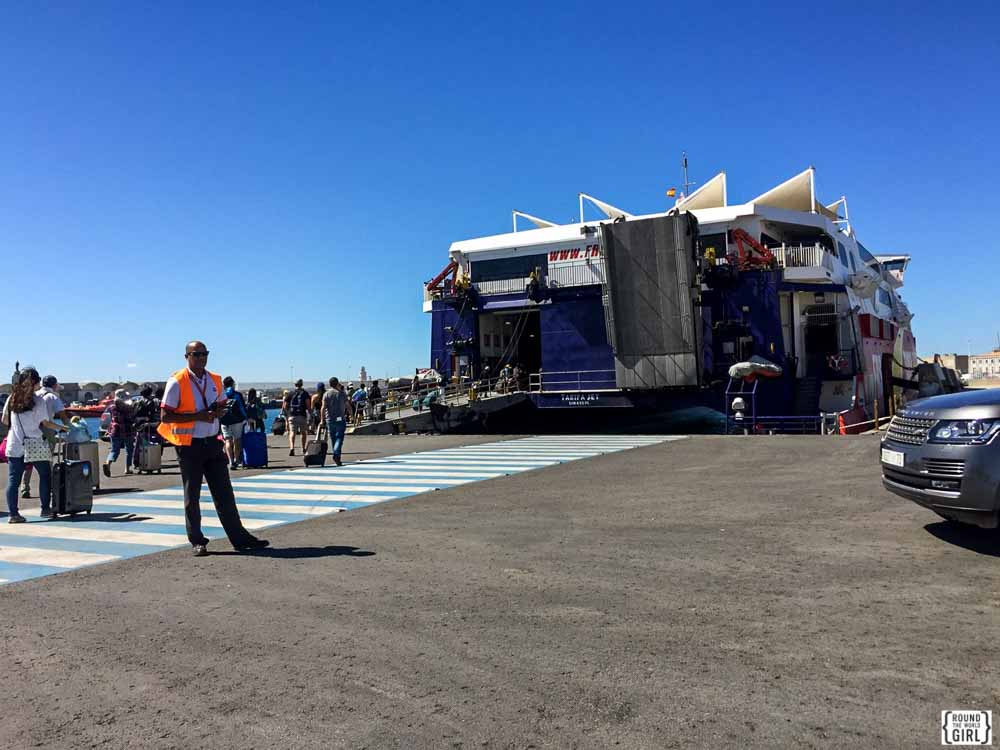 Morocco ferry loading in Tarifa Spain