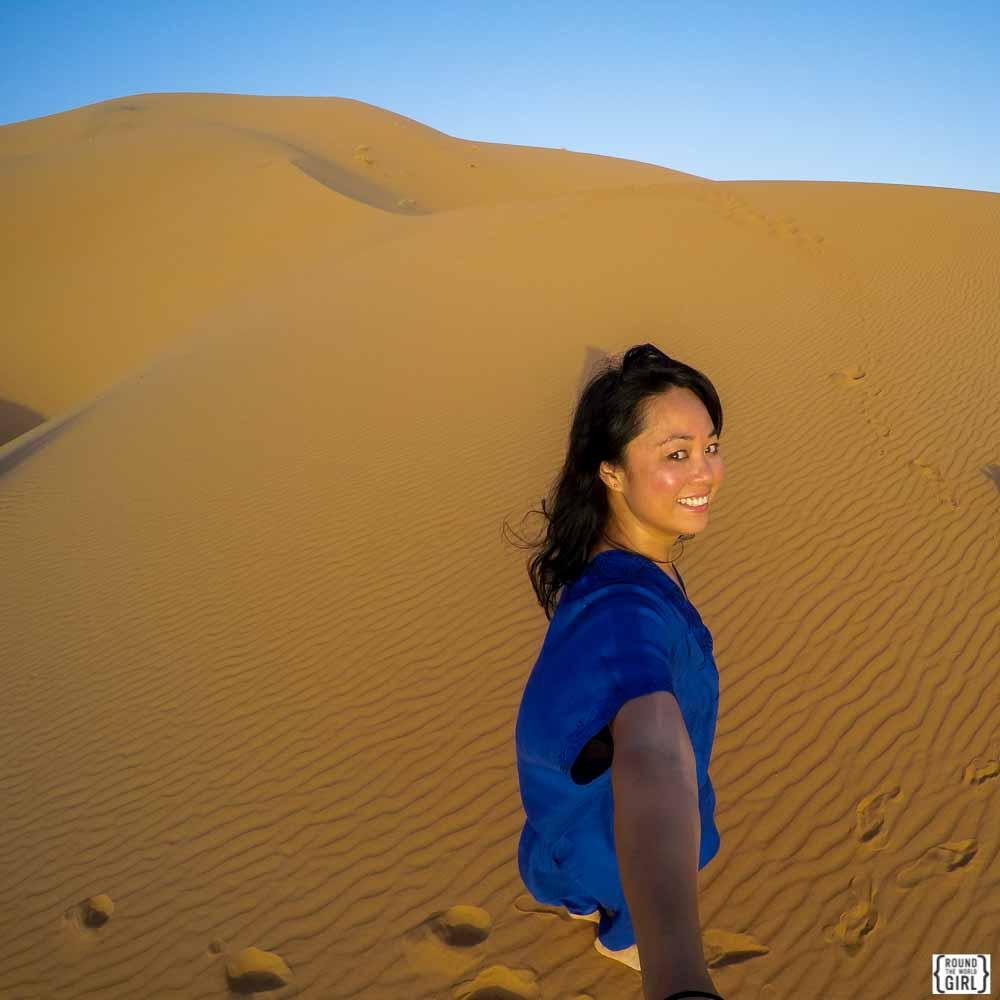 GoPro Sahara Desert Selfie at Erg Chebbi - Morocco | www.rtwgirl.com