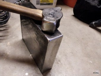 For reference, this is my Big Blu #7 Right Handed Diagonal Peen hammer (2.4 lbs./ 1 kg.) You can also see the one corner edge that I dressed with a slight radius. I'm thinking about making two other corners with more rounded edges than this, perhaps a half inch and 3/4 inch radius.