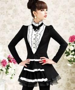 Блуза женская 171724 черно-молочный цвет