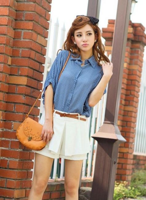 Блузка женская 171732 джинсовый в горох