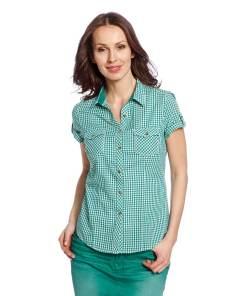 Блуза женская 97001 зеленая клетка