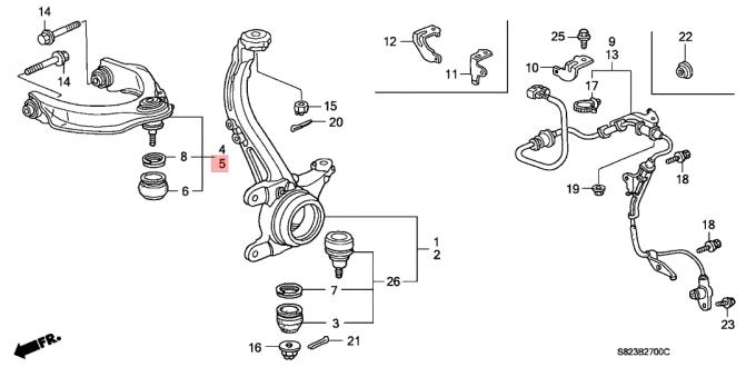 Upper Left Suspension Control Arm Honda Accord 1998-2002