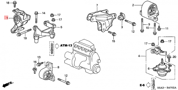 Rubber Assembly Transmission Mount Replacement AT Honda