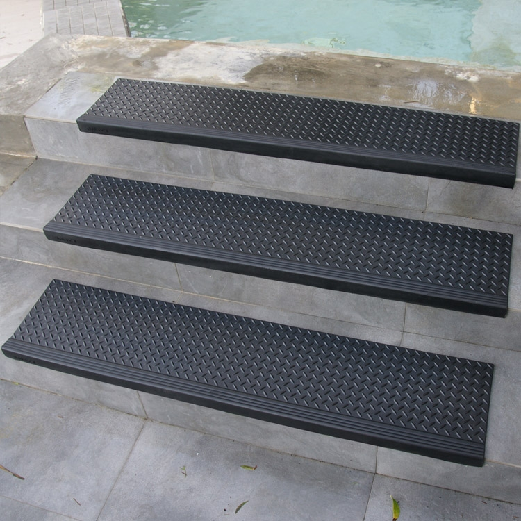 """Diamond Plate Commercial"""" Rubber Stair Treads 6 Packs   Exterior Rubber Stair Treads   Self Adhesive   Commercial   Standard Length 48   Carpet Stair   Non Slip"""