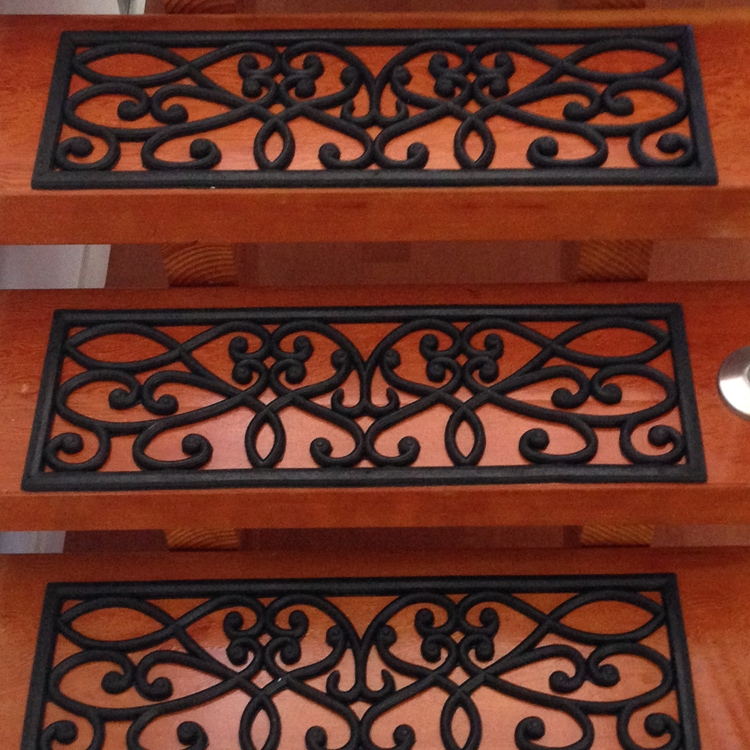New Amsterdam Rubber Stair Treads | Decorative Rubber Stair Treads | Modern Exterior Stair | Pattern | Pie Shaped | Abrasive | Dark Wood Step