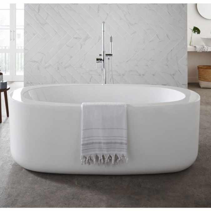 genoa oval modern freestanding bath 1700 x 800mm k vit