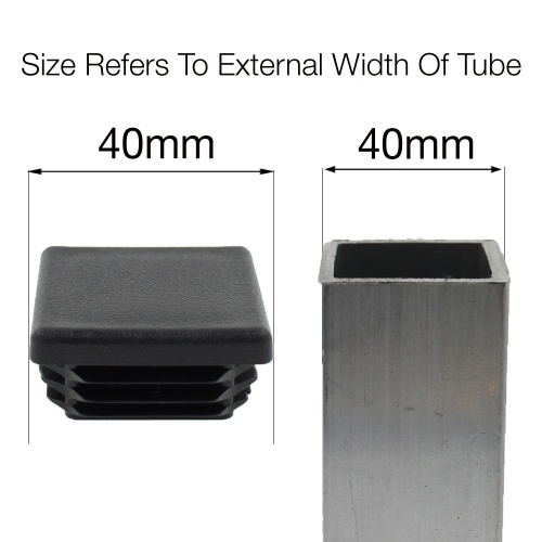40mm Square Ribbed Inserts End Caps For Desks Tables