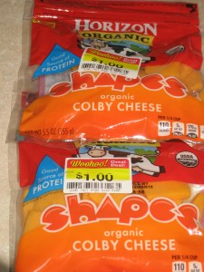 This is the bargain cheese I scored for 12 and 1/2 cents per package.