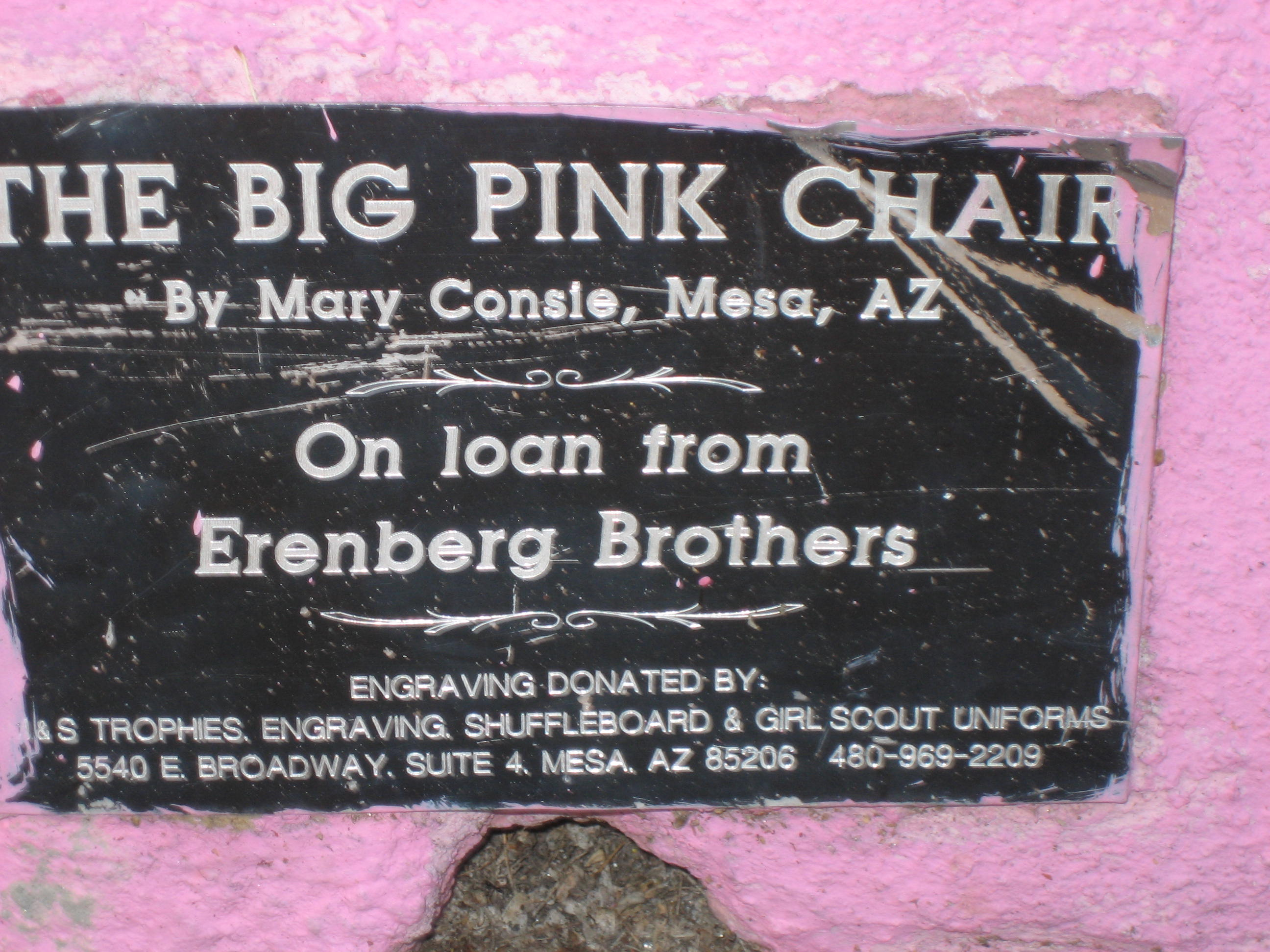 The Big Pink Chair Is A Work By Mary Consie. Itu0027s Located On The North Side  Of Main Street, Between Morris Street And Robson Street.
