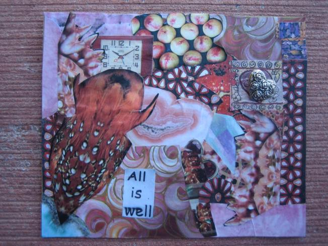 "This collage is called All is Well. It consists of paper on cardboard and is approximately 4"" x 4 1/2."""