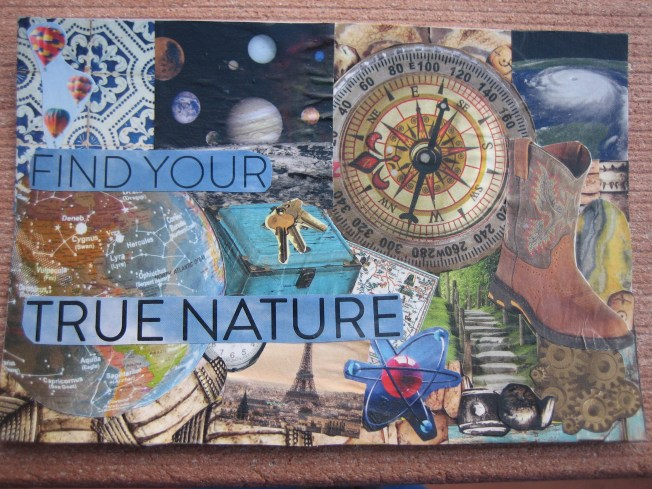 "This collage is called Find Your True Nature. The dimensions are 4"" x 6,"" and it's made from paper on a salvaged postcard. The cost is $20, including shipping."