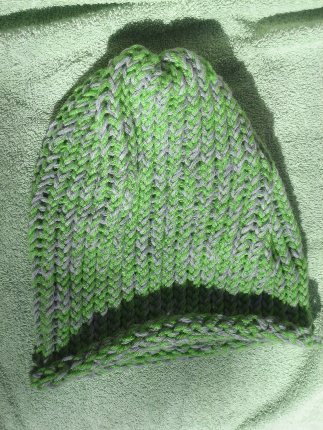 This green and grey hat is extra large. It has a rolled edge and costs $13, including shipping. The yarn came from the Goodwill Clearance Center windfall.